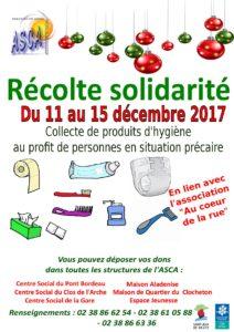 récolte solidarité décembre 2017