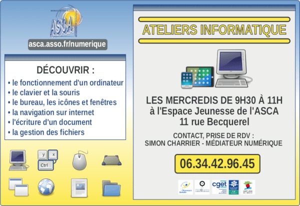 Ateliers informatique initiation - contact 06.34.42.96.45