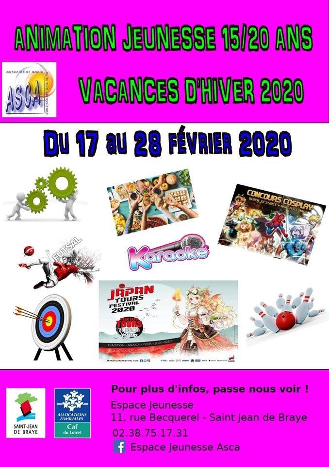 Animations jeunesse 15-20 ans vacances d'hiver 17 au 28 février. Espace Jeunesse ASCA Saint-Jean de Braye