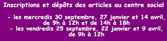 Dates d'inscription aux Troc Party du Pont Bordeau pour l'année scolaire 2020-2021