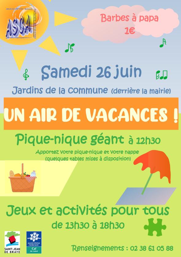 Le samedi 26 juin, dans les Jardins de la Commune « Un air de vacances »