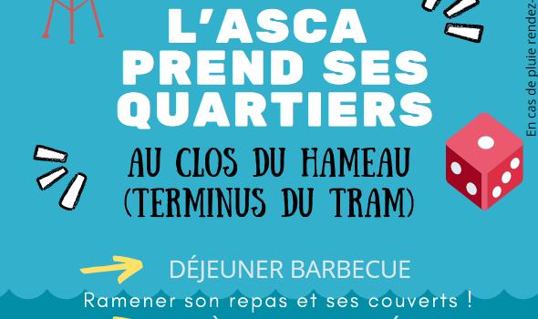 """Le samedi 19 juin, au Clos du Hameau (terminus du tram), """"L'ASCA prend ses quartiers"""""""